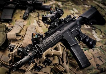 Airsoft gun customised with bb gun accessories